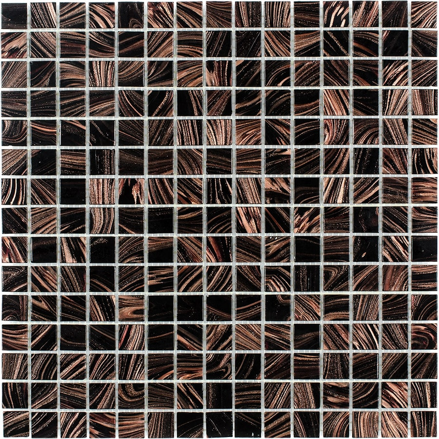 Elida Ceramica Tiger Eye Uniform Squares Mosaic Glass Wall Tile (Common: 13-in x 13-in; Actual: 12.75-in x 12.75-in)