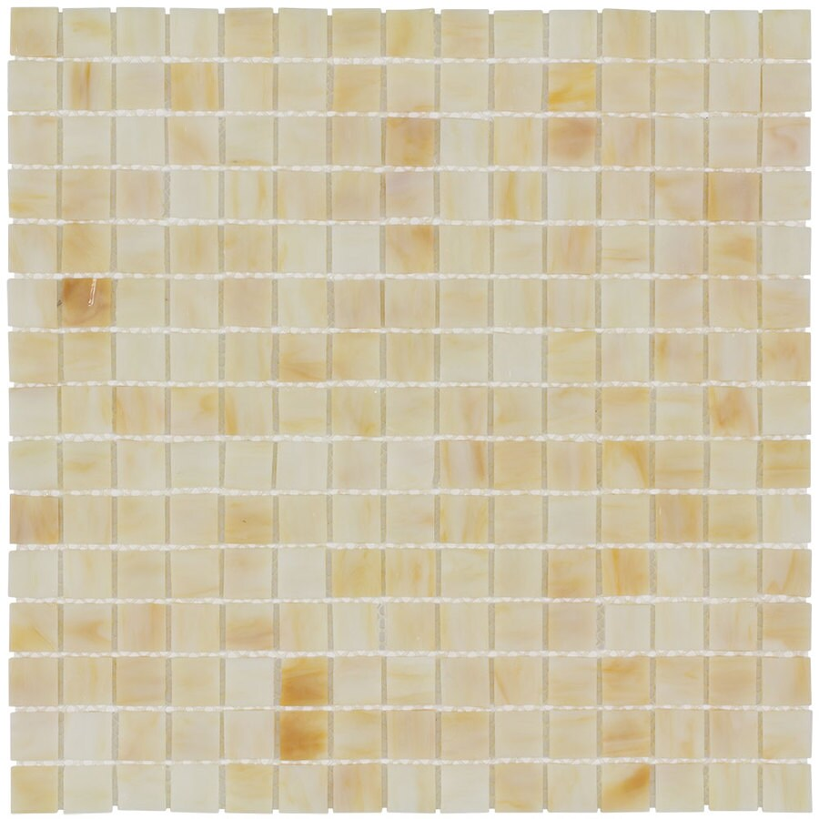 Elida Ceramica Honey Uniform Squares Mosaic Glass Wall Tile (Common: 13-in x 13-in; Actual: 12.75-in x 12.75-in)