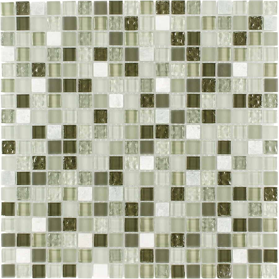 Elida Ceramica Seaweed Uniform Squares Mosaic Stone and Glass Marble Wall Tile (Common: 12-in x 12-in; Actual: 11.75-in x 11.75-in)