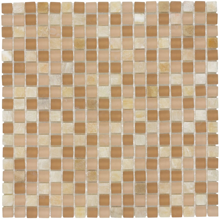 Elida Ceramica Butter Uniform Squares Mosaic Stone and Glass Marble Wall Tile (Common: 12-in x 12-in; Actual: 11.75-in x 11.75-in)