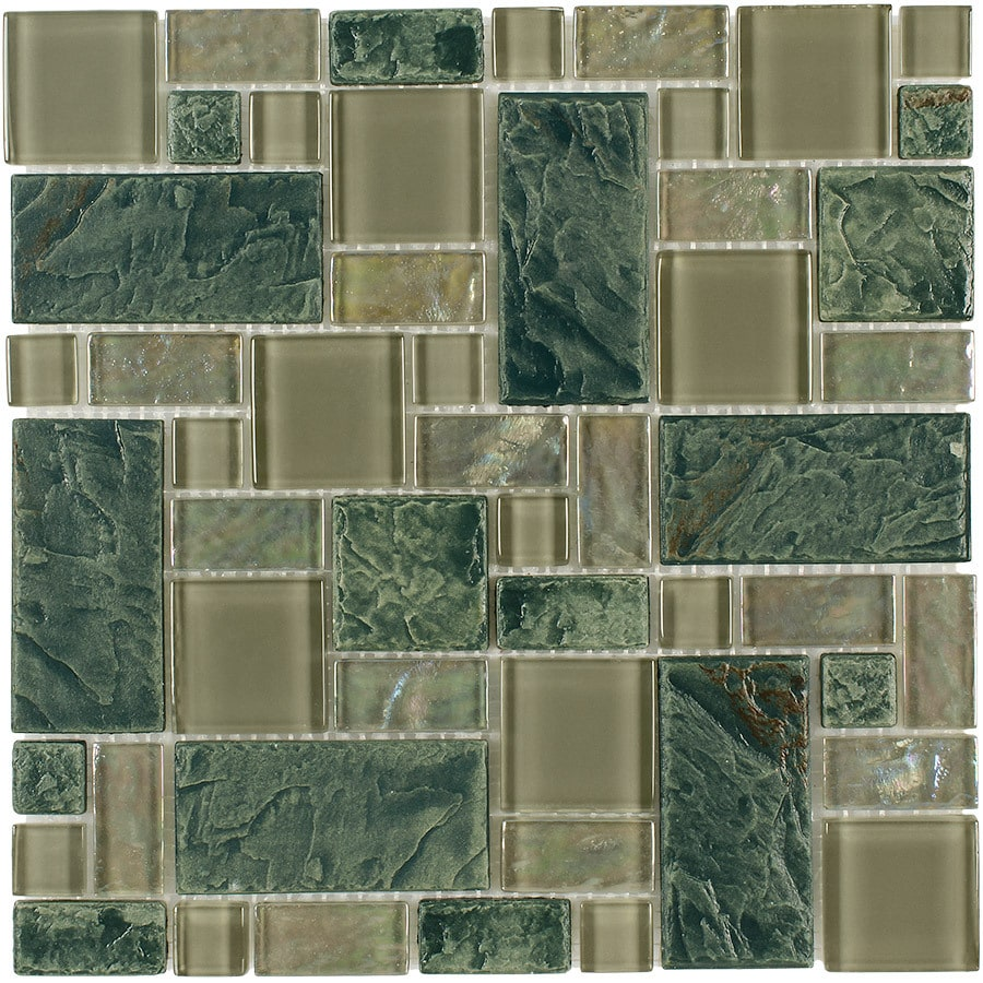 Elida Ceramica Verdi Slate Cubes Mosaic Porcelain and Glass Wall Tile (Common: 12-in x 12-in; Actual: 11.75-in x 11.75-in)