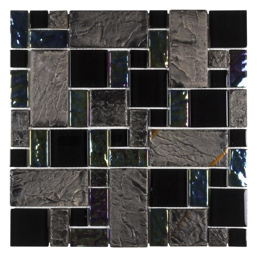 Elida Ceramica Onyx Slate Cubes Mosaic Porcelain and Glass Wall Tile (Common: 12-in x 12-in; Actual: 11.75-in x 11.75-in)