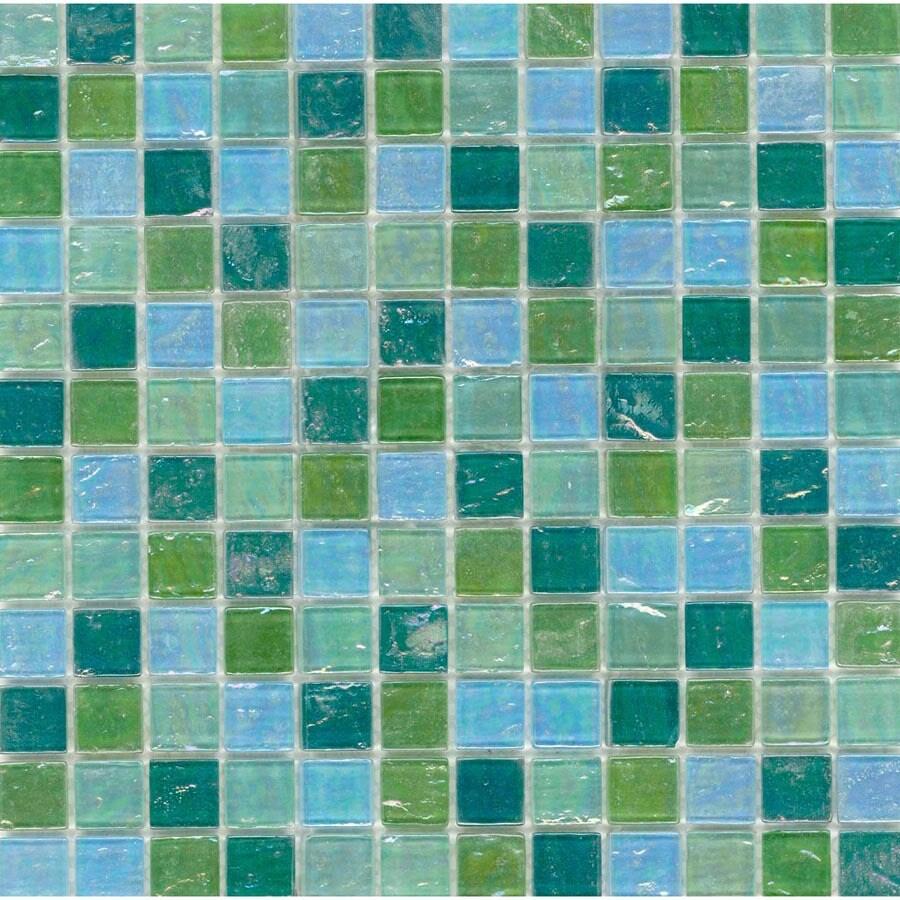 Elida Ceramica 12-in x 12-in Mint Oil Glass Wall Tile