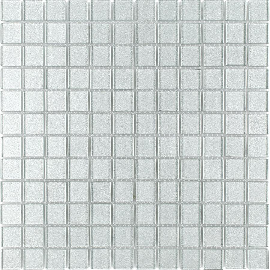 Elida Ceramica Titanium Uniform Squares Mosaic Glass Wall Tile (Common: 12-in x 12-in; Actual: 11.75-in x 11.75-in)