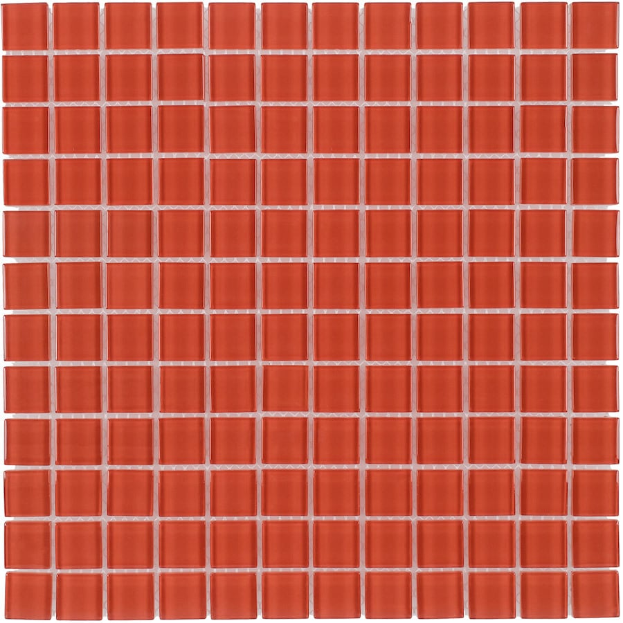 Elida Ceramica Orange Uniform Squares Mosaic Glass Wall Tile (Common: 12-in x 12-in; Actual: 11.75-in x 11.75-in)