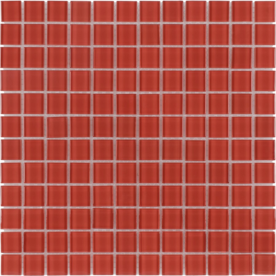 Elida Ceramica Mandarin Uniform Squares Mosaic Glass Wall Tile (Common: 12-in x 12-in; Actual: 11.75-in x 11.75-in)