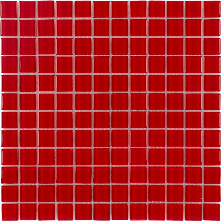 Elida Ceramica Red Coral Uniform Squares Mosaic Glass Wall Tile (Common: 12-in x 12-in; Actual: 11.75-in x 11.75-in)