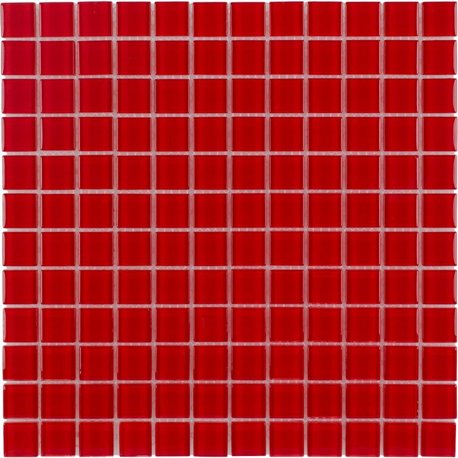 Shop Elida Ceramica Red Coral Uniform Squares Mosaic Glass