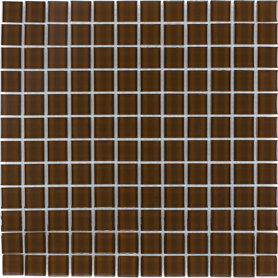 Elida Ceramica Coffee Uniform Squares Mosaic Glass Wall Tile (Common: 12-in x 12-in; Actual: 11.75-in x 11.75-in)