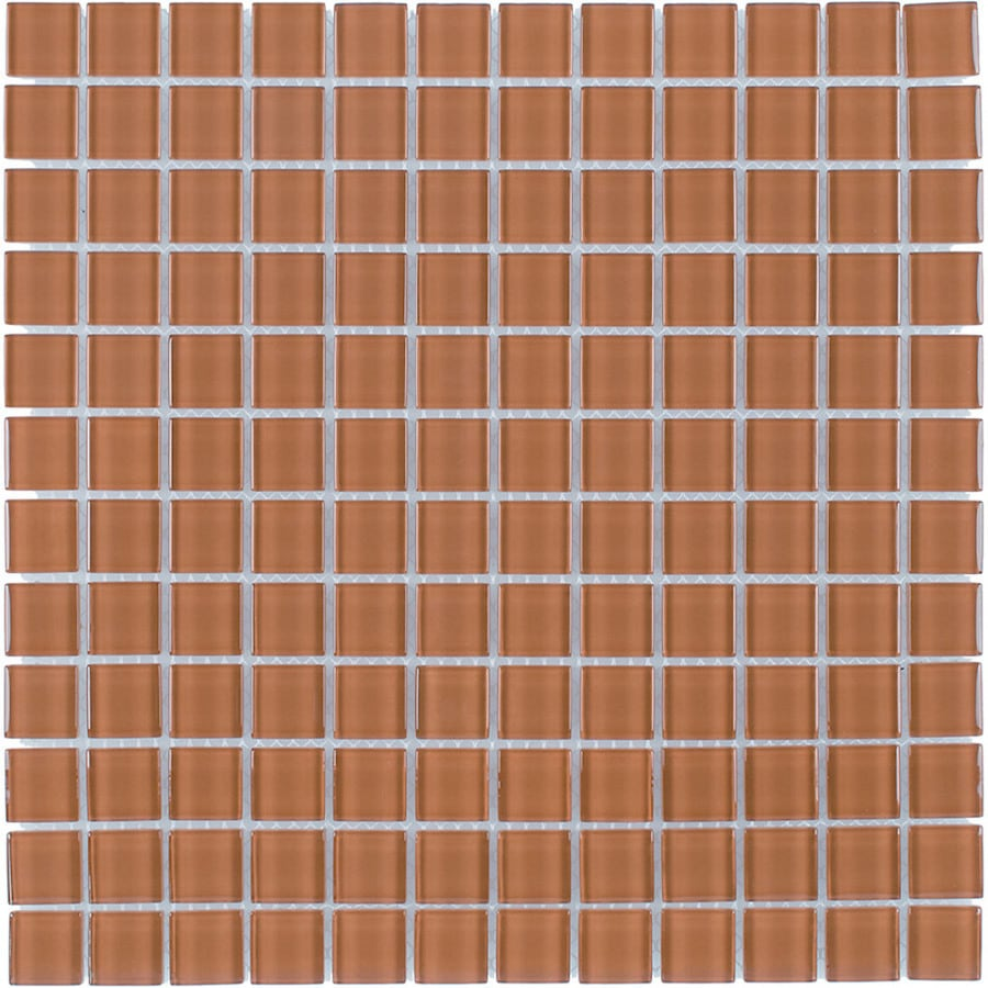 Elida Ceramica Brown Sugar Uniform Squares Mosaic Glass Wall Tile (Common: 12-in x 12-in; Actual: 11.75-in x 11.75-in)