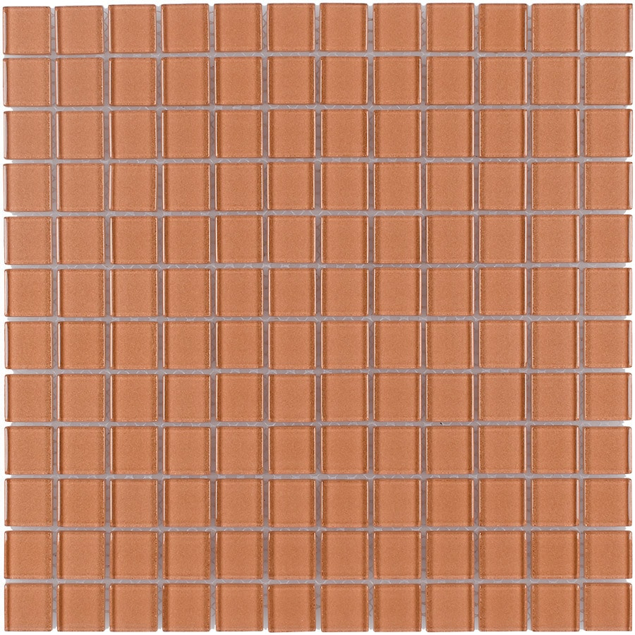Elida Ceramica Glass Mosaic Copper Glass Mosaic Square Indoor/Outdoor Wall Tile (Common: 12-in x 12-in; Actual: 11.75-in x 11.75-in)
