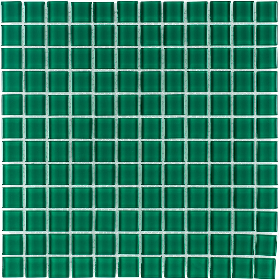 Elida Ceramica Evergreen Uniform Squares Mosaic Glass Wall Tile (Common: 12-in x 12-in; Actual: 11.75-in x 11.75-in)