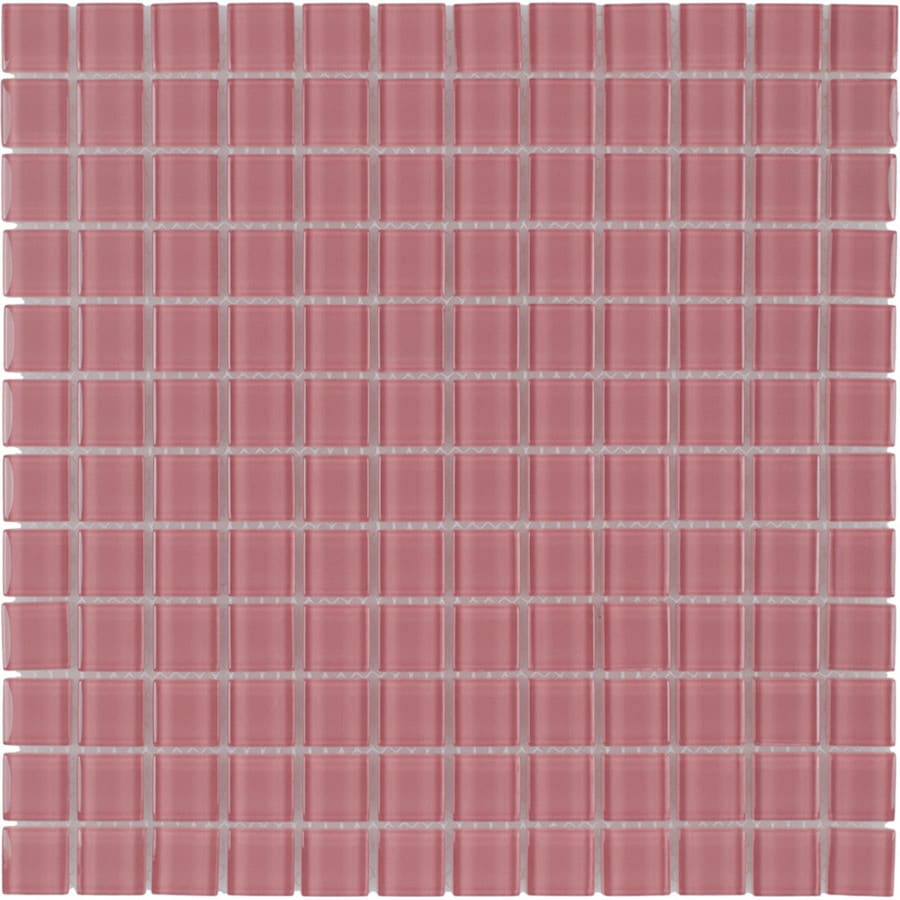 Elida Ceramica Blush Uniform Squares Mosaic Glass Wall Tile (Common: 12-in x 12-in; Actual: 11.75-in x 11.75-in)