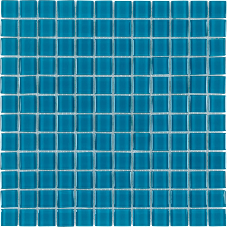 Elida Ceramica Aqua Uniform Squares Mosaic Glass Wall Tile (Common: 12-in x 12-in; Actual: 11.75-in x 11.75-in)