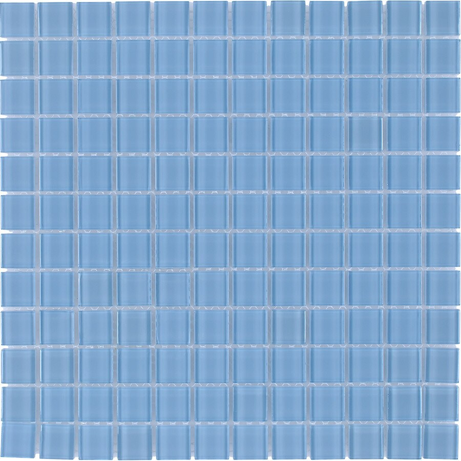 Elida Ceramica Baby Blue Uniform Squares Mosaic Glass Wall Tile (Common: 12-in x 12-in; Actual: 11.75-in x 11.75-in)