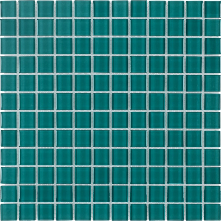 Elida Ceramica Azure Uniform Squares Mosaic Glass Wall Tile (Common: 12-in x 12-in; Actual: 11.75-in x 11.75-in)