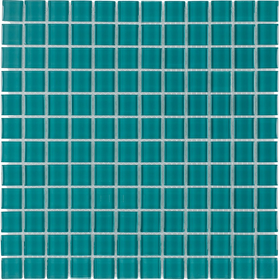 Elida Ceramica Cyan Uniform Squares Mosaic Glass Wall Tile (Common: 12-in x 12-in; Actual: 11.75-in x 11.75-in)