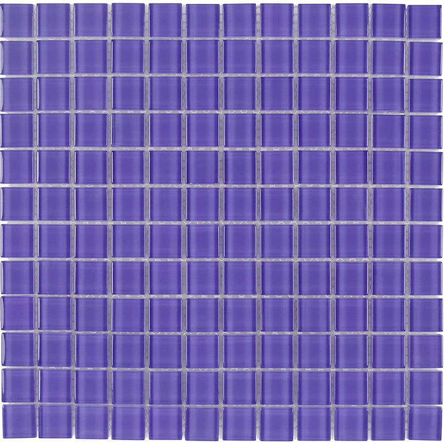 Elida Ceramica Lilac Uniform Squares Mosaic Glass Wall Tile (Common: 12-in x 12-in; Actual: 11.75-in x 11.75-in)