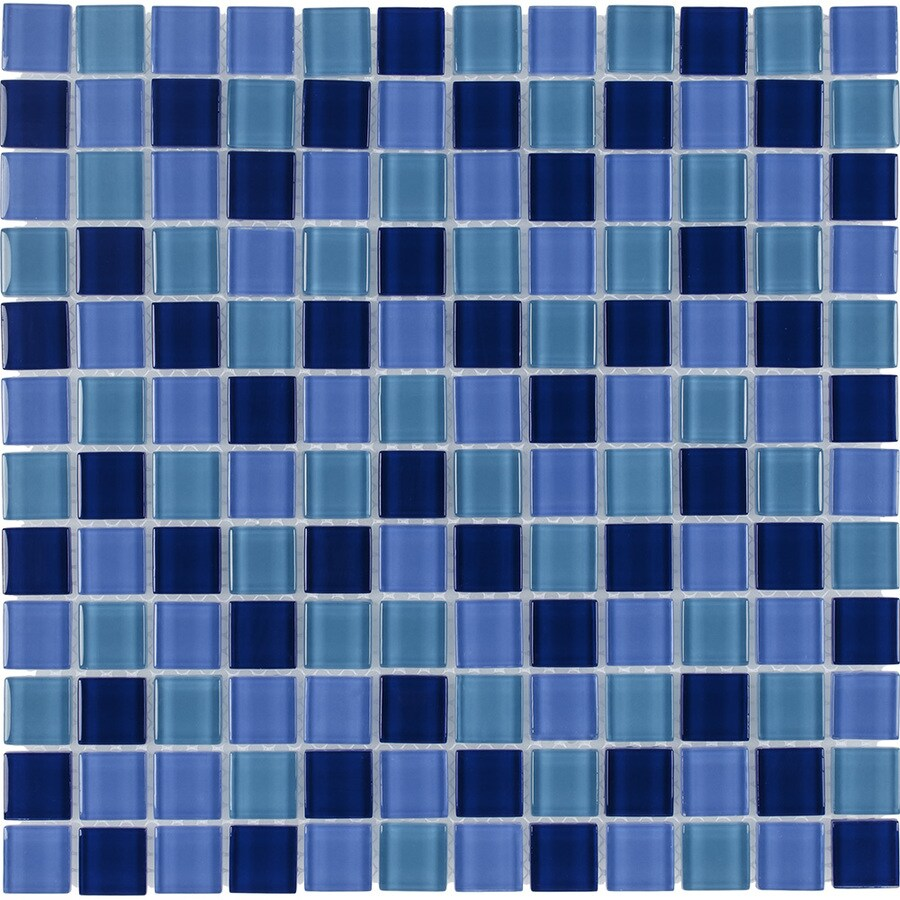 Shop Elida Ceramica Ocean Uniform Squares Mosaic Glass Wall Tile ...