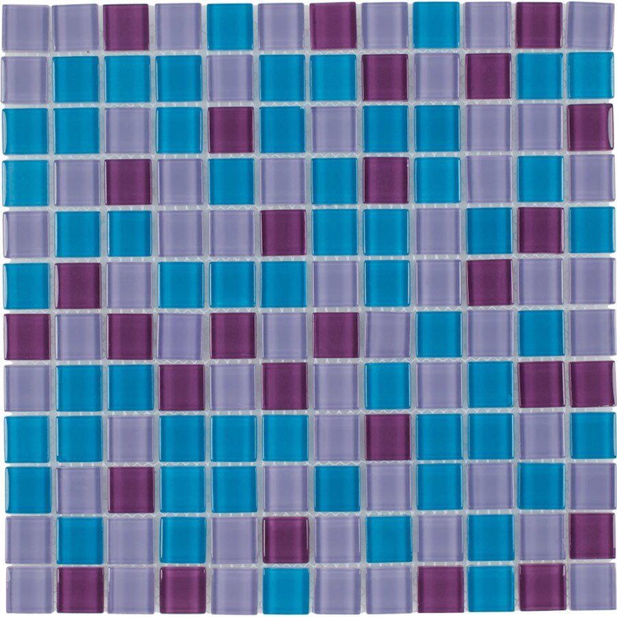 Elida Ceramica Pop Blue Uniform Squares Mosaic Glass Wall Tile (Common: 12-in x 12-in; Actual: 11.75-in x 11.75-in)
