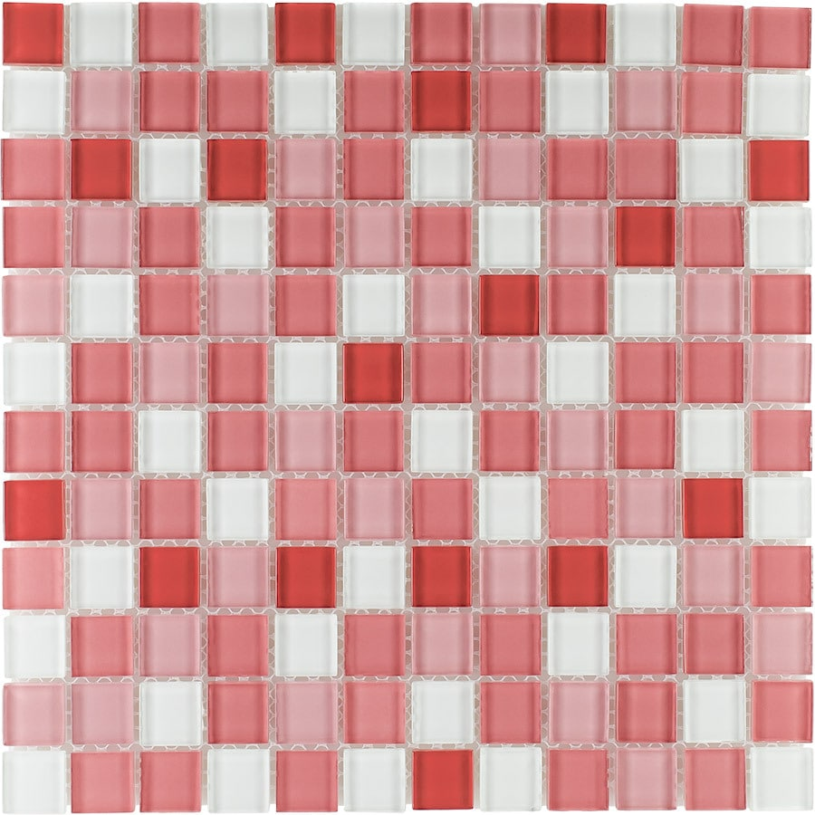 Elida Ceramica Baby Girl Uniform Squares Mosaic Glass Wall Tile (Common: 12-in x 12-in; Actual: 11.75-in x 11.75-in)