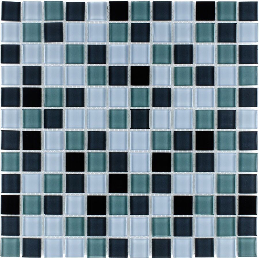Elida Ceramica Good Night Uniform Squares Mosaic Glass Wall Tile (Common: 12-in x 12-in; Actual: 11.75-in x 11.75-in)