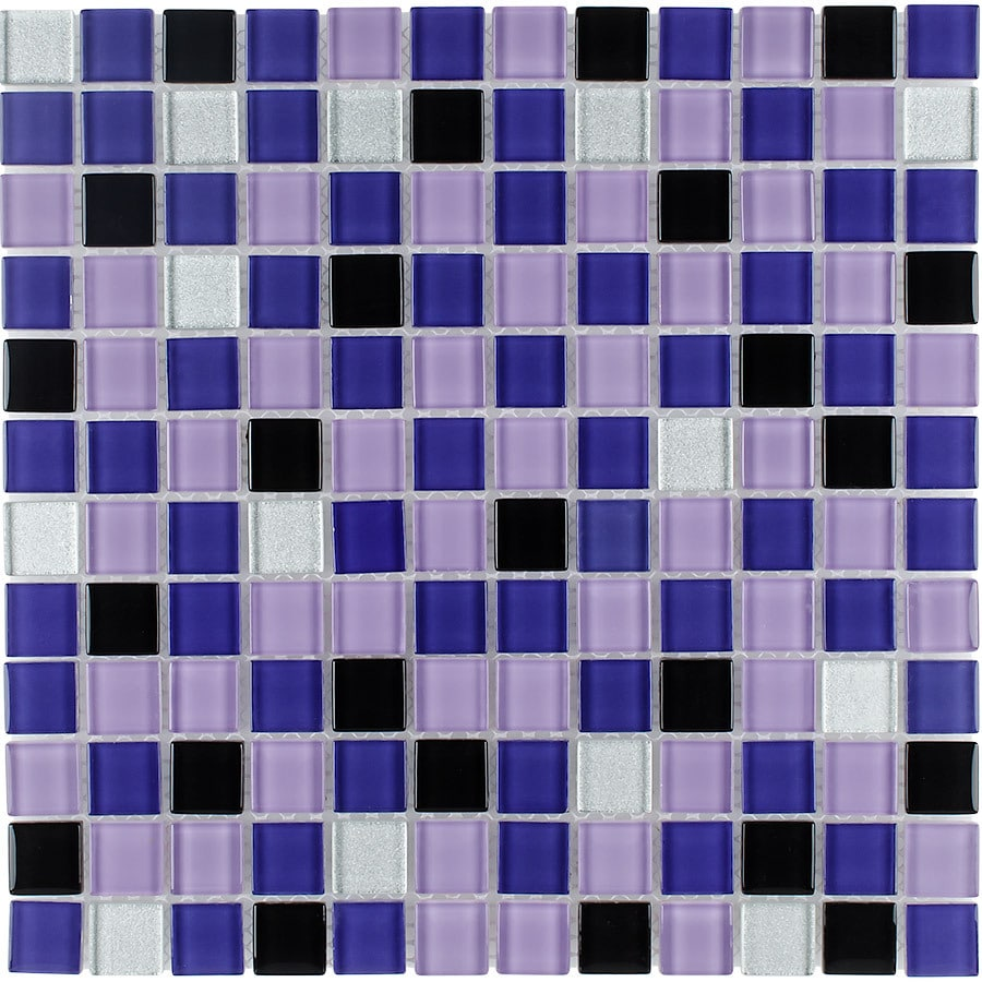 Elida Ceramica Ultra Violet Uniform Squares Mosaic Glass Wall Tile (Common: 12-in x 12-in; Actual: 11.75-in x 11.75-in)