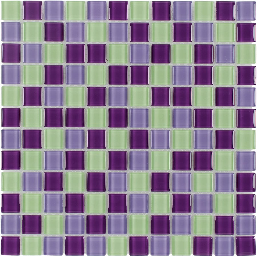 Elida Ceramica Purple Hope Uniform Squares Mosaic Glass Wall Tile (Common: 12-in x 12-in; Actual: 11.75-in x 11.75-in)