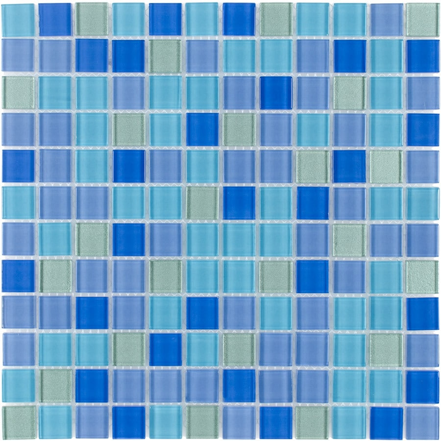 Elida Ceramica Aqua Marine Uniform Squares Mosaic Glass Wall Tile (Common: 12-in x 12-in; Actual: 11.75-in x 11.75-in)