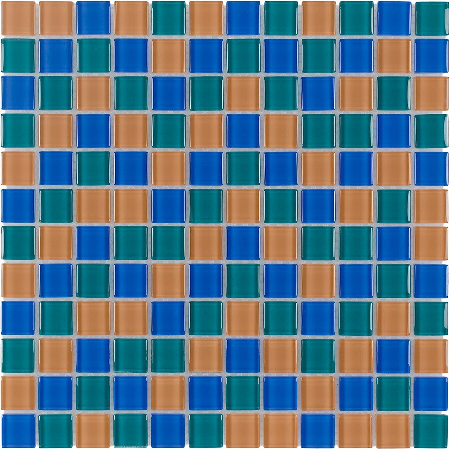 Elida Ceramica Summer Uniform Squares Mosaic Glass Wall Tile (Common: 12-in x 12-in; Actual: 11.75-in x 11.75-in)