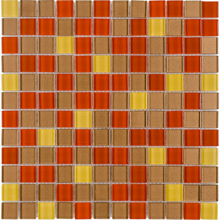 Elida Ceramica Fall Uniform Squares Mosaic Glass Wall Tile (Common: 12-in x 12-in; Actual: 11.75-in x 11.75-in)