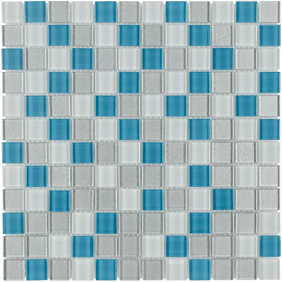 Elida Ceramica Winter Uniform Squares Mosaic Glass Wall Tile (Common: 12-in x 12-in; Actual: 11.75-in x 11.75-in)