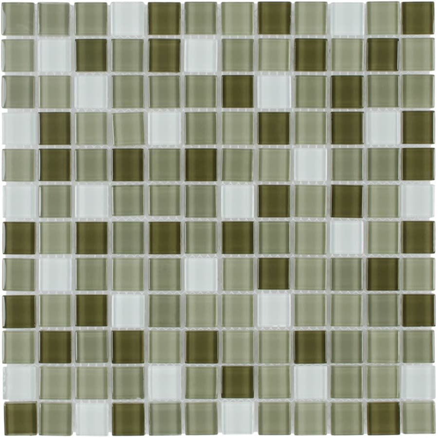 Elida Ceramica Camouflage Uniform Squares Mosaic Glass Wall Tile (Common: 12-in x 12-in; Actual: 11.75-in x 11.75-in)