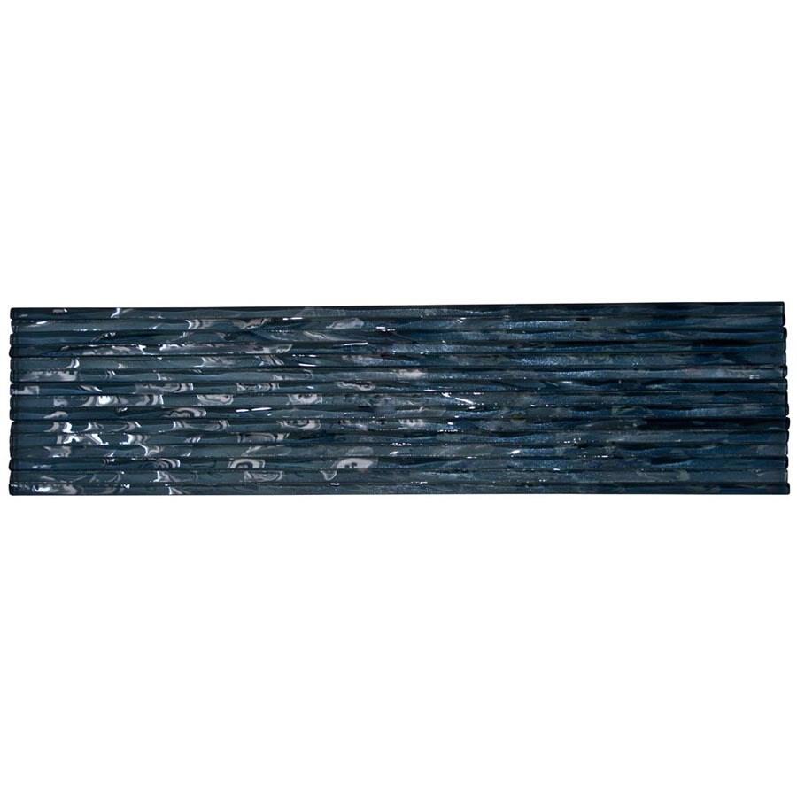 Elida Ceramica Murano Clear Black Diamond Glass Listello Tile (Common: 3-in x 12-in; Actual: 3-in x 12-in)