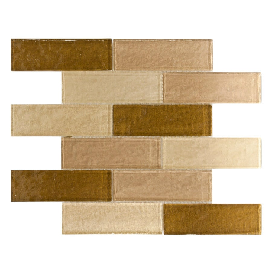 Elida Ceramica Natural City Bricks Glass Mosaic Subway Wall Tile (Common: 12-in x 12-in; Actual: 11.75-in x 11.75-in)