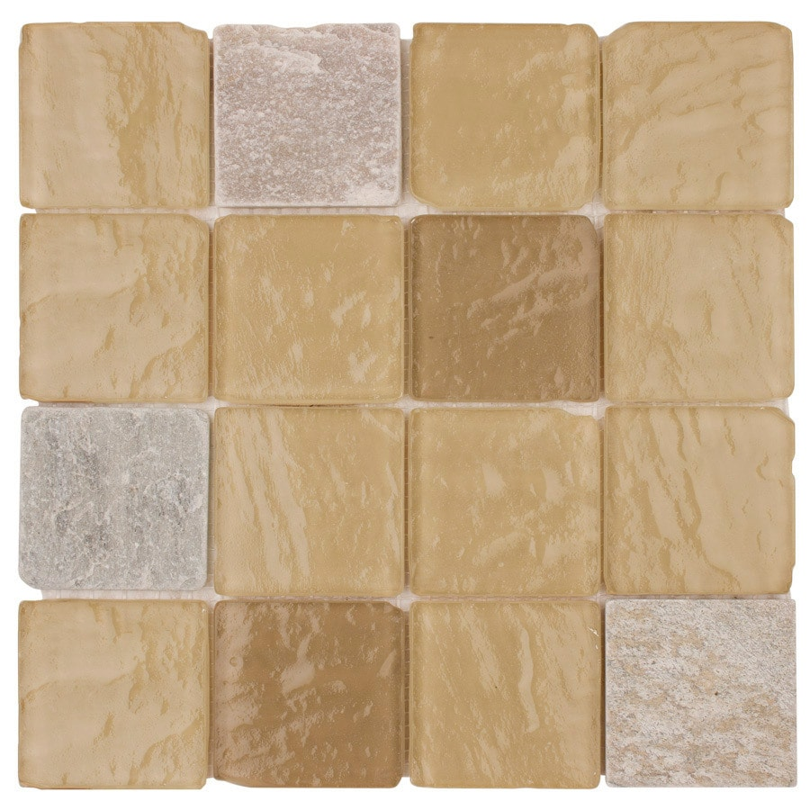 Elida Ceramica Beige Pyramids Uniform Squares Mosaic Stone and Glass Slate Wall Tile (Common: 12-in x 12-in; Actual: 11.75-in x 11.75-in)