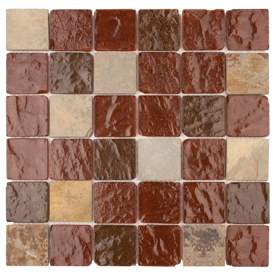 Elida Ceramica Wine Pyramids Uniform Squares Mosaic Stone and Glass Slate Wall Tile (Common: 12-in x 12-in; Actual: 11.75-in x 11.75-in)
