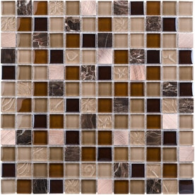 Elida Ceramica Coral Light 12-in x 12-in Glass/Metal/Stone Uniform Squares Marble Mosaic Wall Tile (Common: 12-in x 12-in; Actual: 11.75-in x 11.75-in)