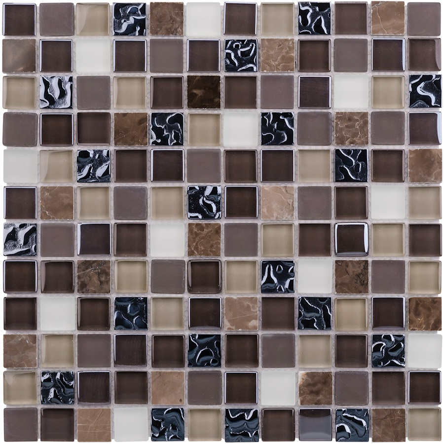 Elida Ceramica Glass Mosaic Coral Dark Uniform Squares Mosaic Glass Wall Tile (Common: 12-in x 12-in; Actual: 11.75-in x 11.75-in)