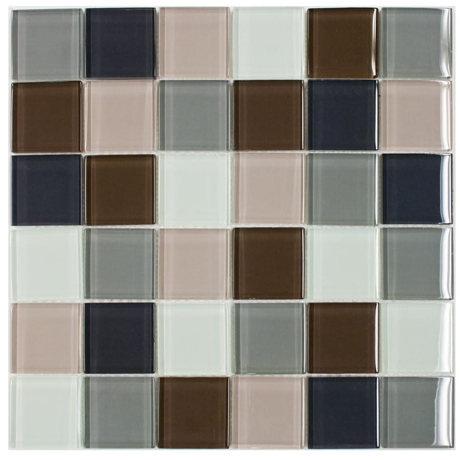 Elida Ceramica Multi Glacier Uniform Squares Mosaic Glass Wall Tile (Common: 12-in x 12-in; Actual: 11.75-in x 11.75-in)