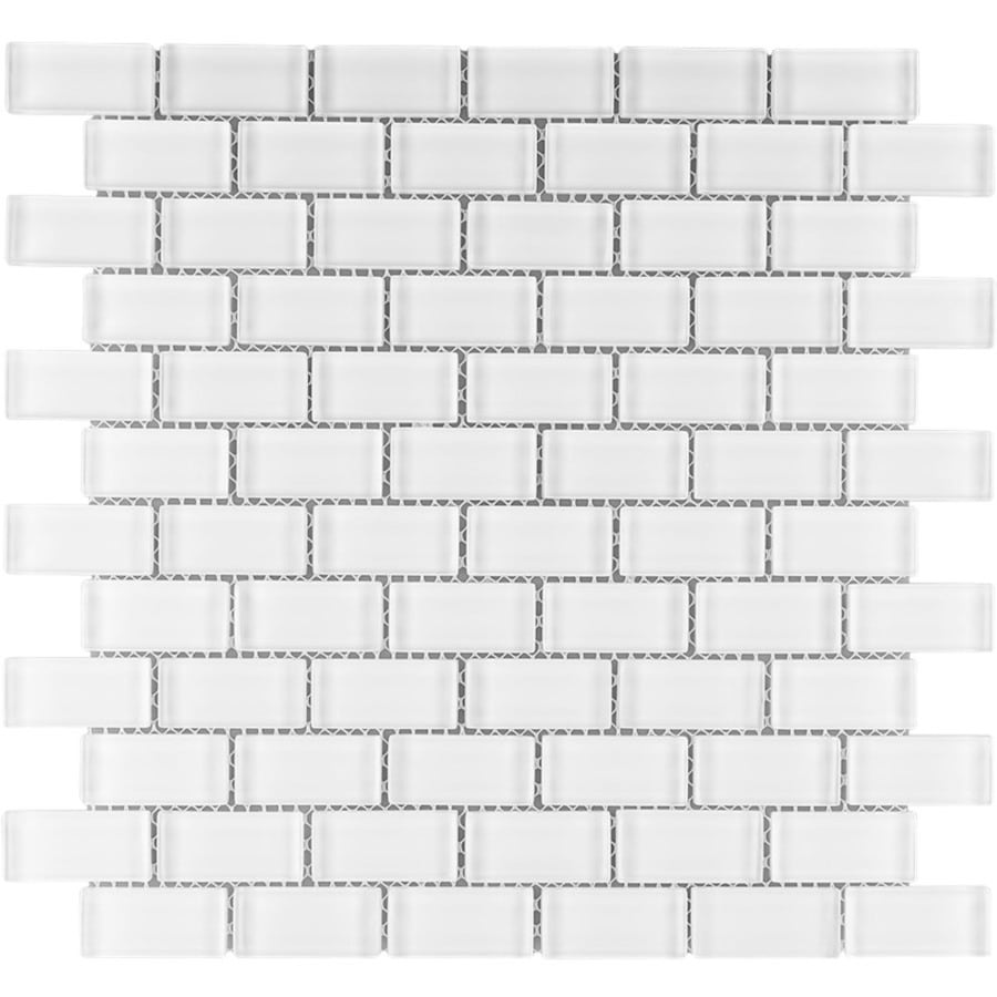 Elida Ceramica White Clear Brick Mosaic Glass Wall Tile (Common: 12-in x 13-in; Actual: 12-in x 12-in)