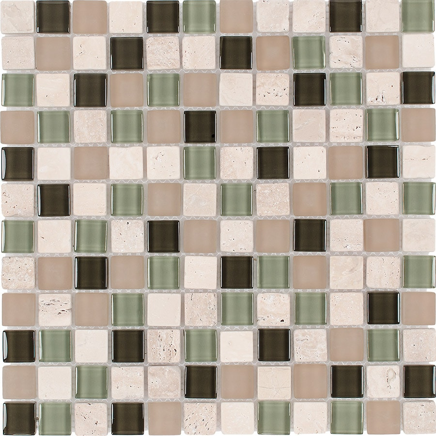 Elida Ceramica Olive Tree Uniform Squares Mosaic Stone and Glass Travertine Wall Tile (Common: 12-in x 12-in; Actual: 11.75-in x 11.75-in)