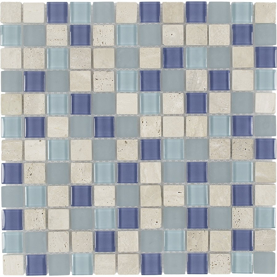 Elida Ceramica Water Springs Uniform Squares Mosaic Stone and Glass Travertine Wall Tile (Common: 12-in x 12-in; Actual: 11.75-in x 11.75-in)