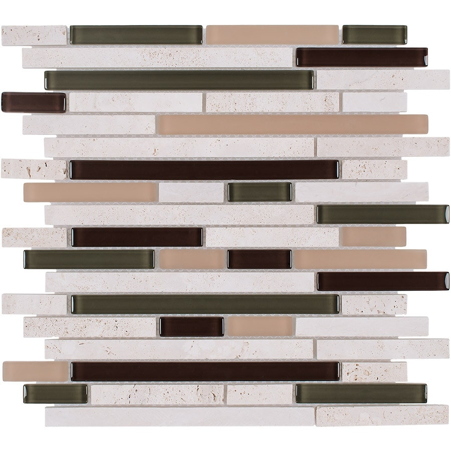 Elida Ceramica Harvest Field Brick Linear Mosaic Stone and Glass Travertine Wall Tile (Common: 12-in x 13-in; Actual: 12-in x 12-in)