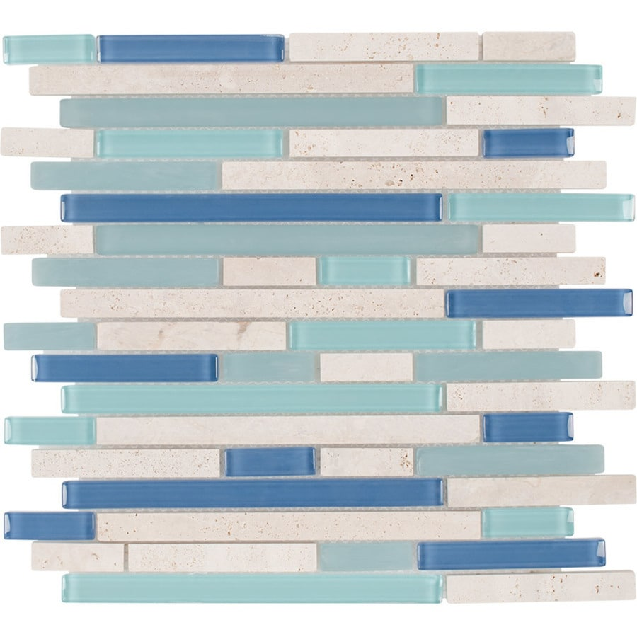Elida Ceramica Water Springs Brick Linear Mosaic Stone and Glass Travertine Wall Tile (Common: 12-in x 13-in; Actual: 12-in x 12-in)