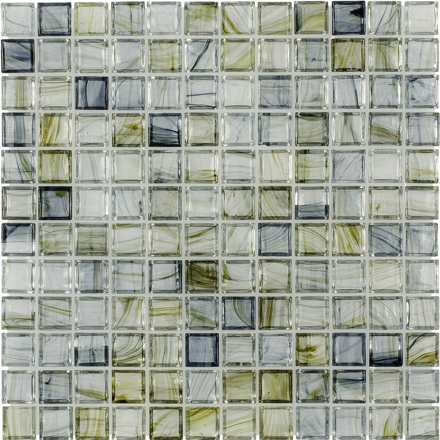 Elida Ceramica Celestial Blue Uniform Squares Mosaic Glass Wall Tile (Common: 12-in x 12-in; Actual: 11.75-in x 11.75-in)