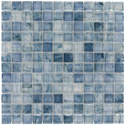 Elida Ceramica Angelica Blue Glass Uniform Squares Wall Tile (Common:; Actual: 11.75-in x 11.75-in)