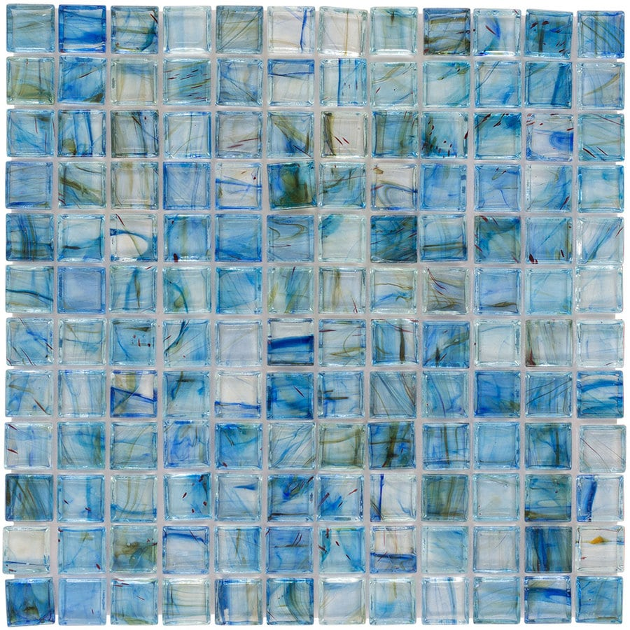 Shop Elida Ceramica Lagoon Blue Uniform Squares Mosaic Glass Wall ...