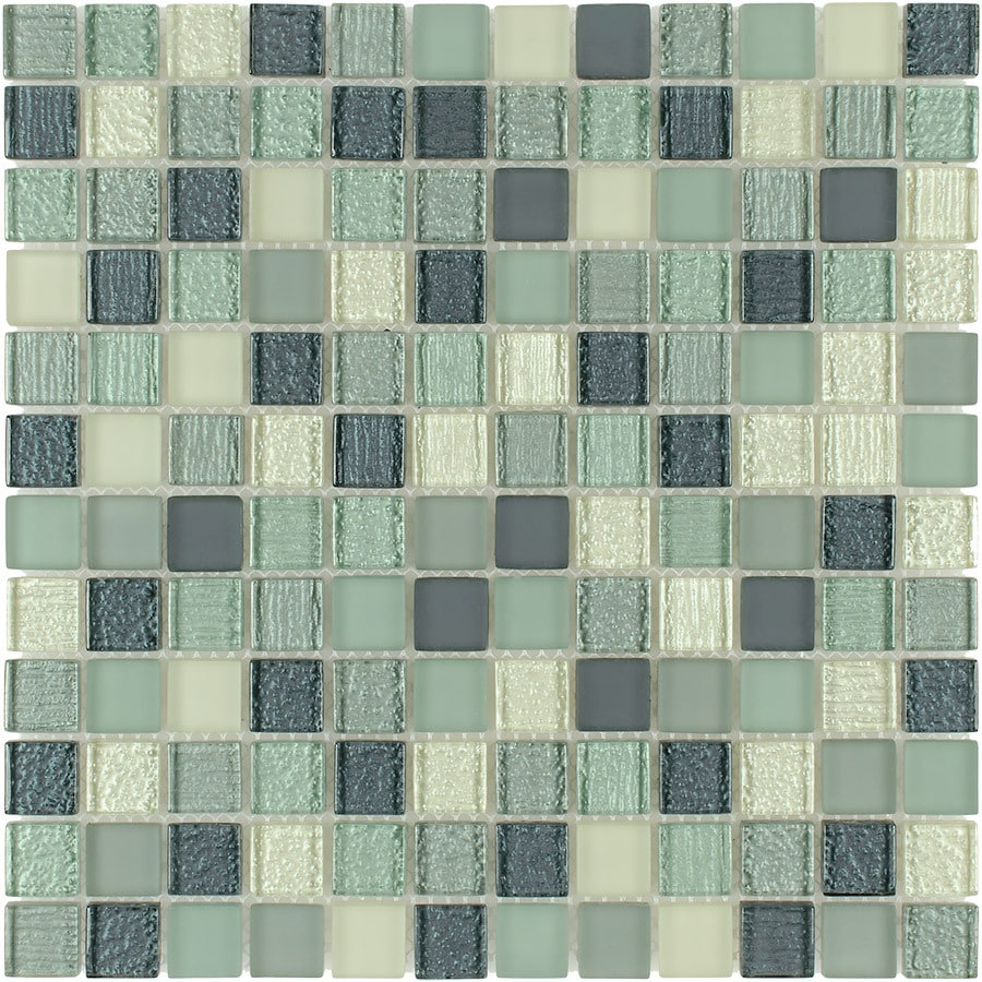 Elida Ceramica Summer Breeze Uniform Squares Mosaic Glass Wall Tile (Common: 12-in x 12-in; Actual: 11.75-in x 11.75-in)