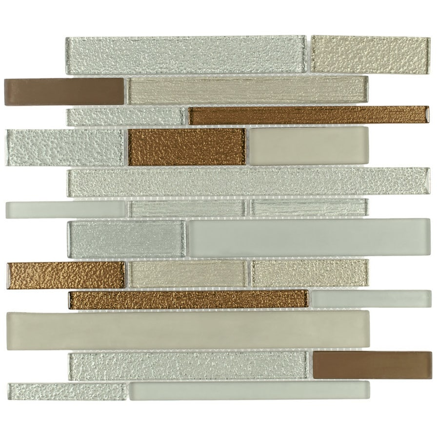 Elida Ceramica Spring Brick Linear Mosaic Glass Wall Tile (Common: 12-in x 14-in; Actual: 11.75-in x 11.75-in)